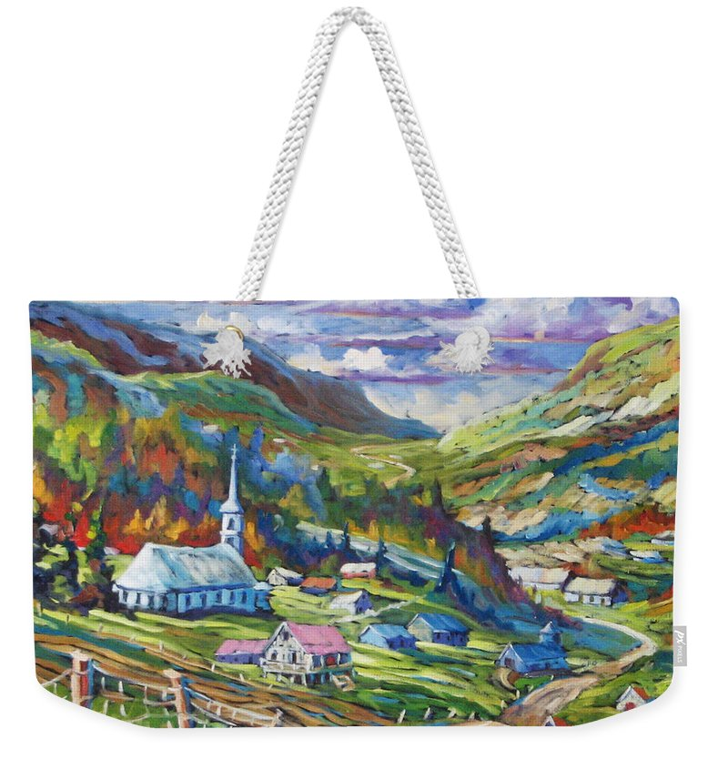 Charlevoix Weekender Tote Bag featuring the painting Charlevoix Inspiration by Richard T Pranke