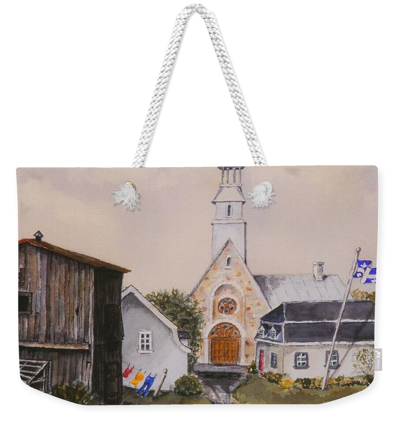 Landscape Weekender Tote Bag featuring the painting Charlevoix Quebec by Mary Ellen Mueller Legault