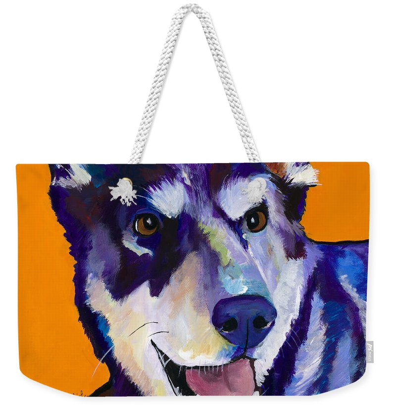 Pat Saunders-white Weekender Tote Bag featuring the painting Charley by Pat Saunders-White