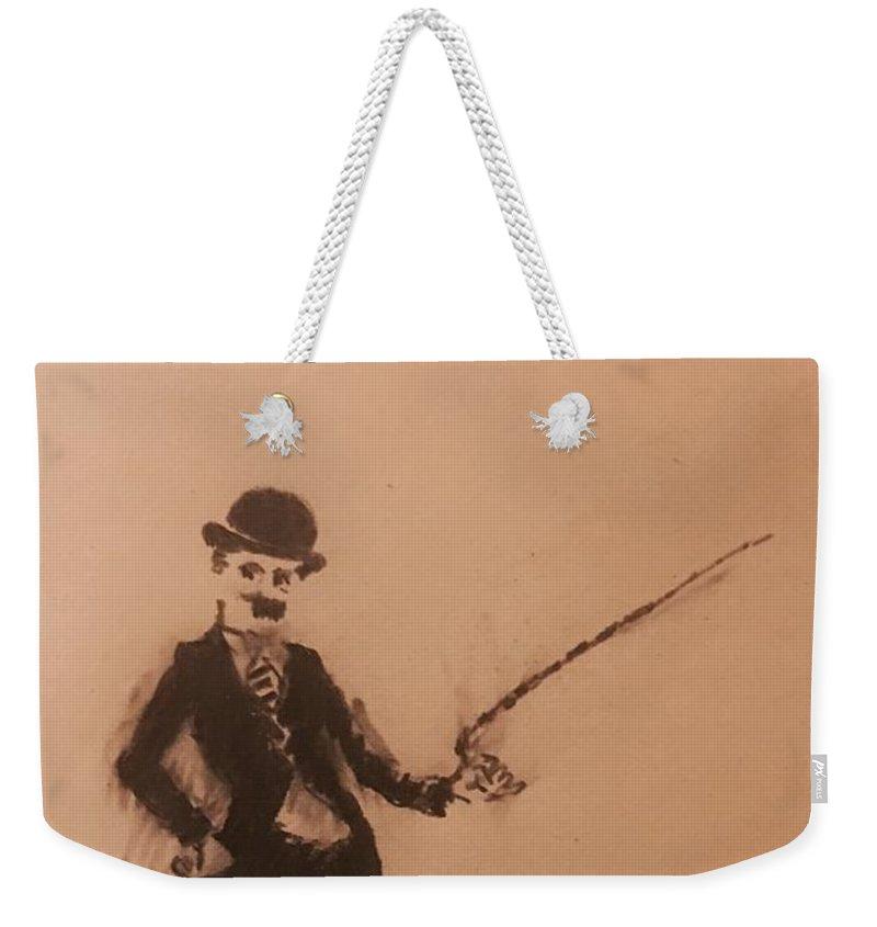 Weekender Tote Bag featuring the painting Charlie Chaplin by Ralph Herrington Farabee