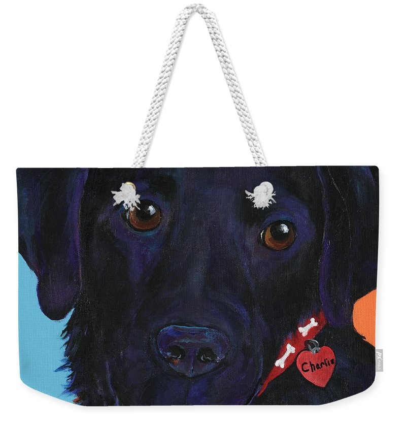 Dog Art Weekender Tote Bag featuring the painting Charlie by Pat Saunders-White