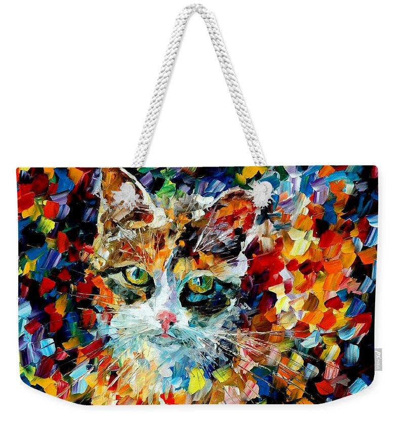 Cat Weekender Tote Bag featuring the painting Charming Cat by Leonid Afremov