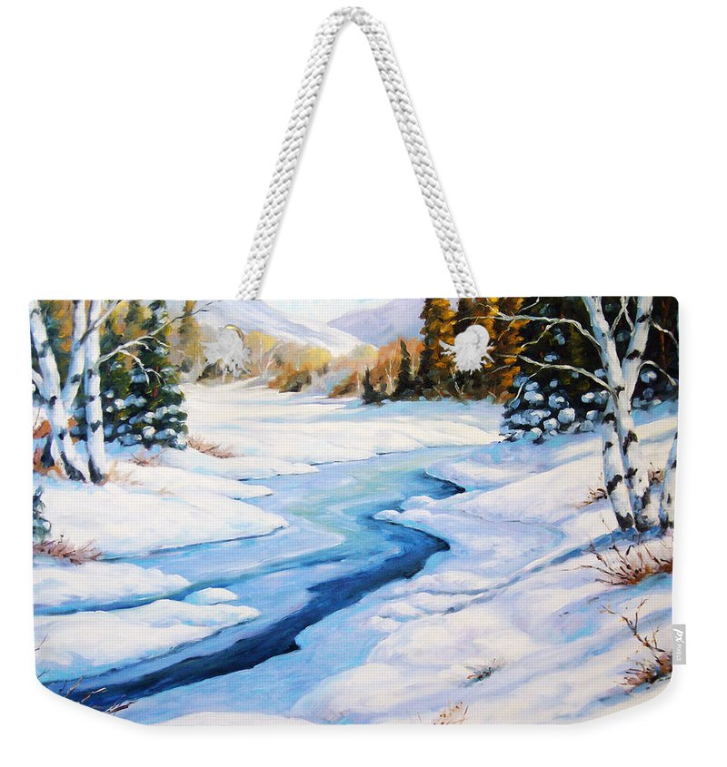 Winter Weekender Tote Bag featuring the painting Charming Winter by Richard T Pranke