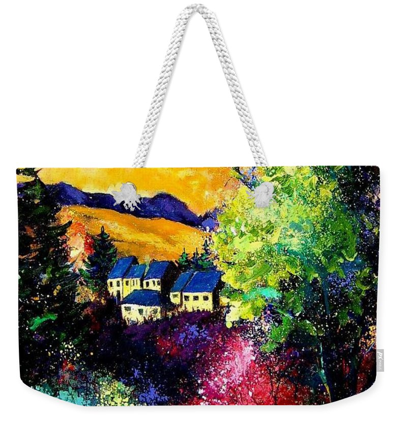 Landscape Weekender Tote Bag featuring the painting Charnoy by Pol Ledent