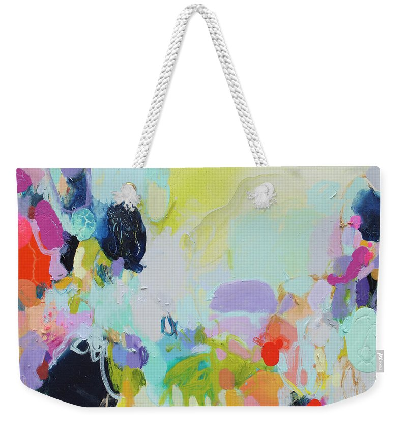 Abstract Weekender Tote Bag featuring the painting Chartreuse Stop by Claire Desjardins