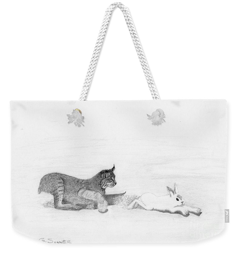 Drawing Weekender Tote Bag featuring the drawing Chase by George Sonner