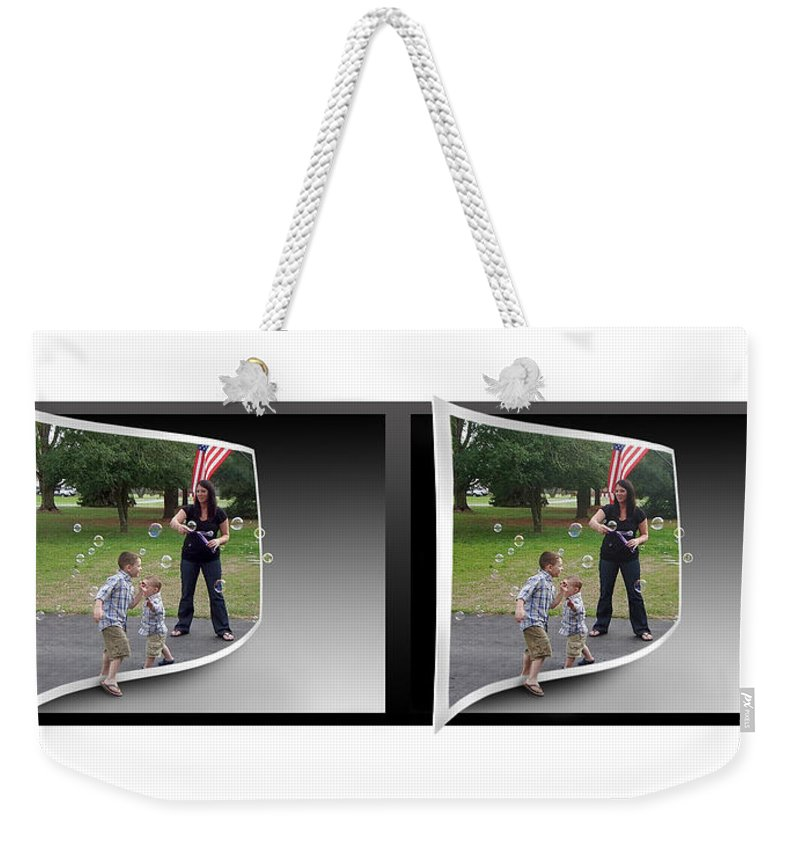 3d Weekender Tote Bag featuring the photograph Chasing Bubbles - Gently Cross Your Eyes And Focus On The Middle Image by Brian Wallace
