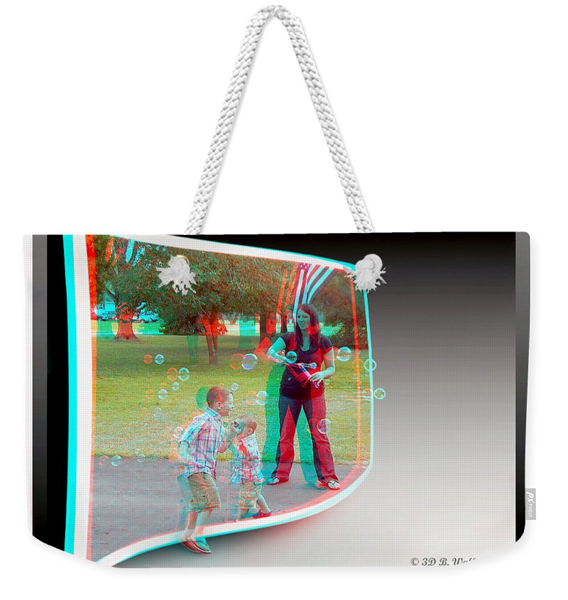 3d Weekender Tote Bag featuring the photograph Chasing Bubbles - Use Red-cyan 3d Glasses by Brian Wallace