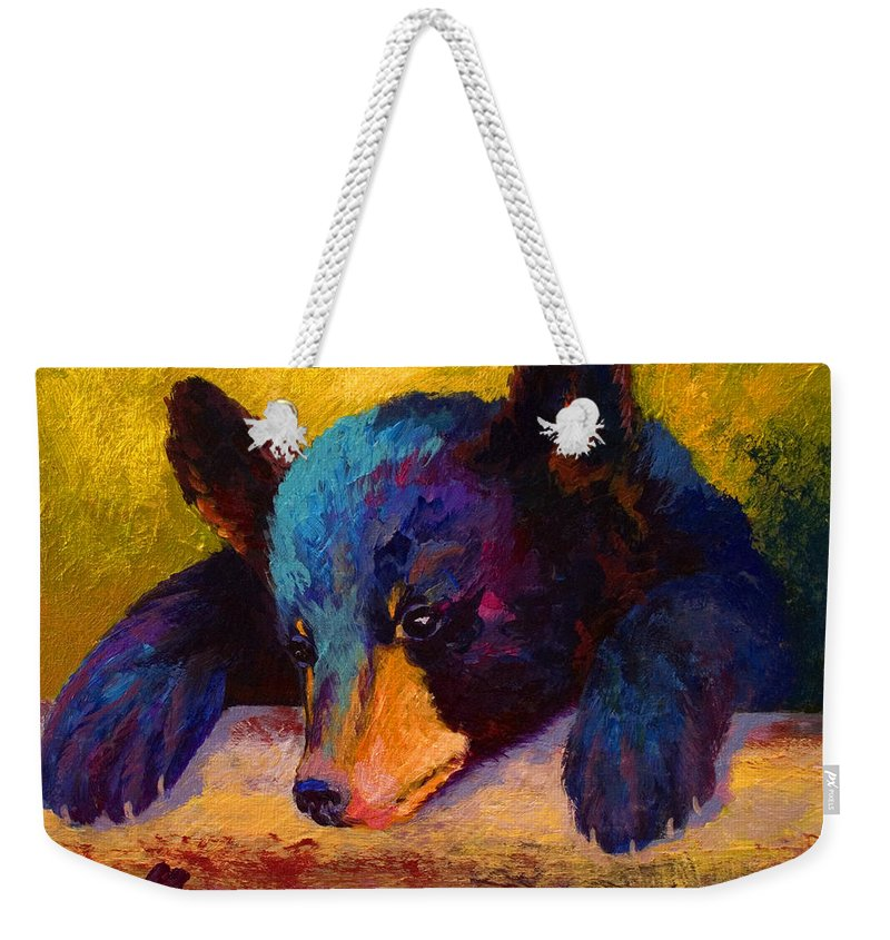 Bear Weekender Tote Bag featuring the painting Chasing Bugs - Black Bear Cub by Marion Rose
