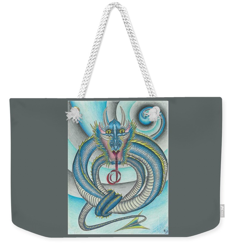 Dragon Weekender Tote Bag featuring the drawing Chasing The Dragon by Michael E Kelly