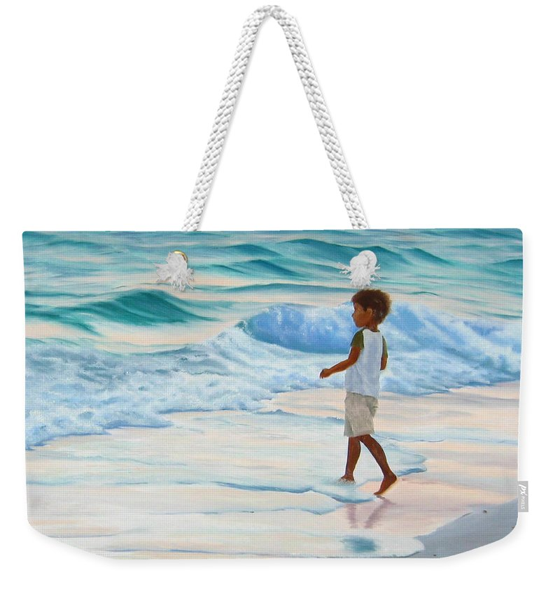 Child Weekender Tote Bag featuring the painting Chasing The Waves by Lea Novak