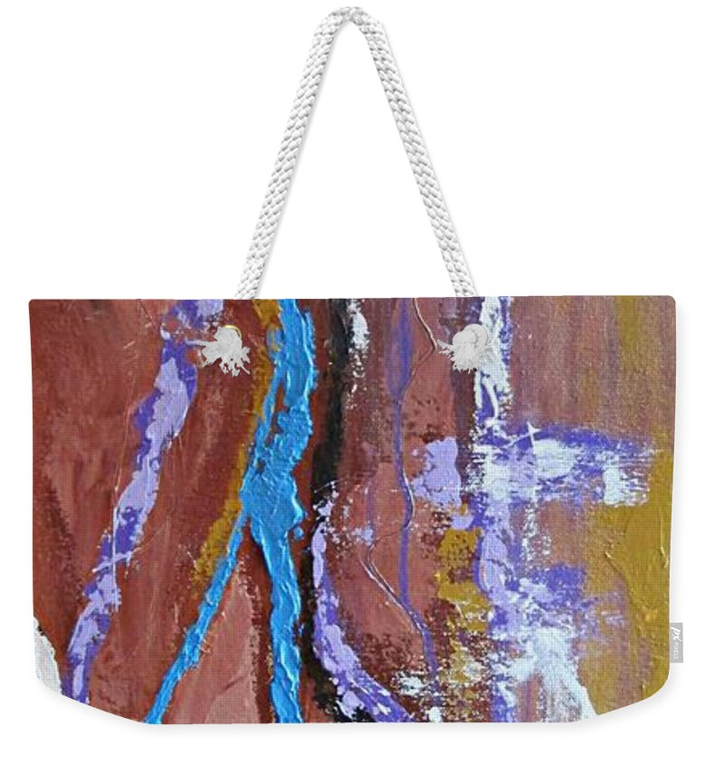 Abstract Weekender Tote Bag featuring the painting Chasm by Mary Mirabal