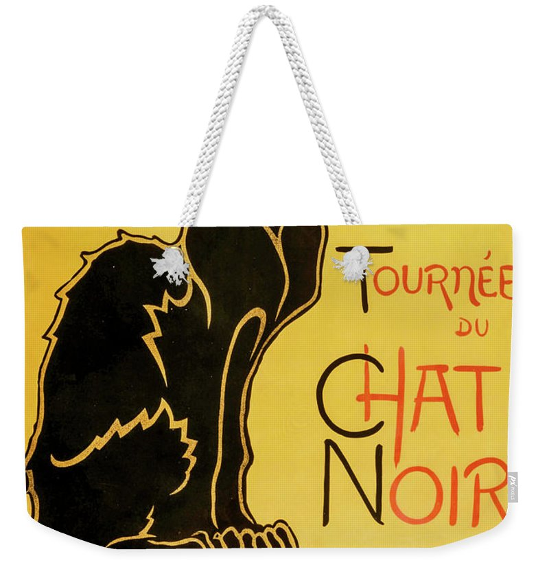 Paris Weekender Tote Bag featuring the painting Chat Noir by Delphimages Photo Creations