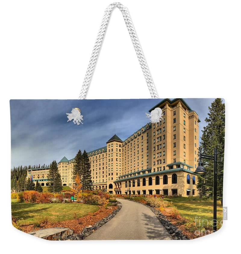 Chateau Lake Louise Weekender Tote Bag featuring the photograph Chateau Lake Louise Panorama by Adam Jewell
