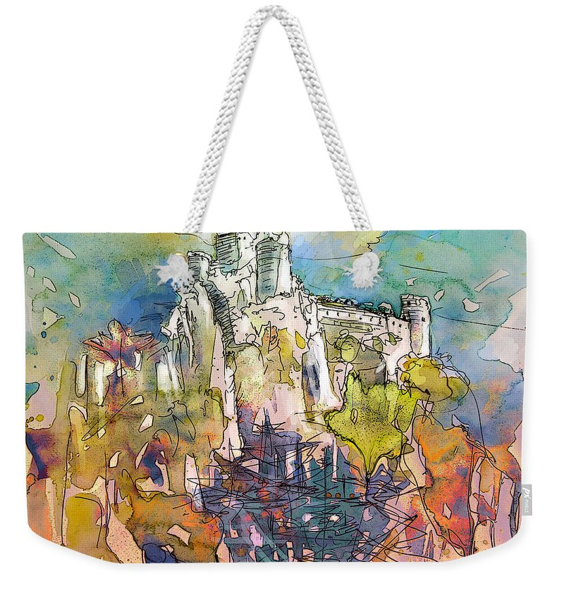 Cathars Art Weekender Tote Bag featuring the painting Chateau Cathare De Puylaurens 01 - France by Miki De Goodaboom