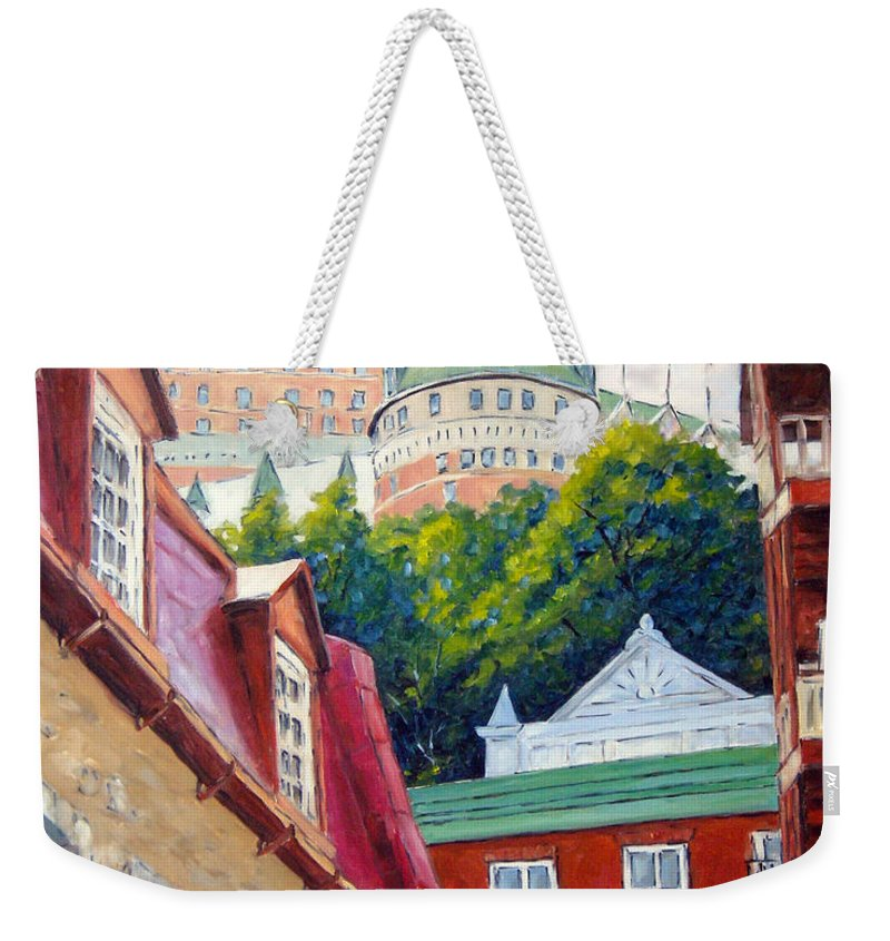 Town Weekender Tote Bag featuring the painting Chateau Frontenac 02 by Richard T Pranke