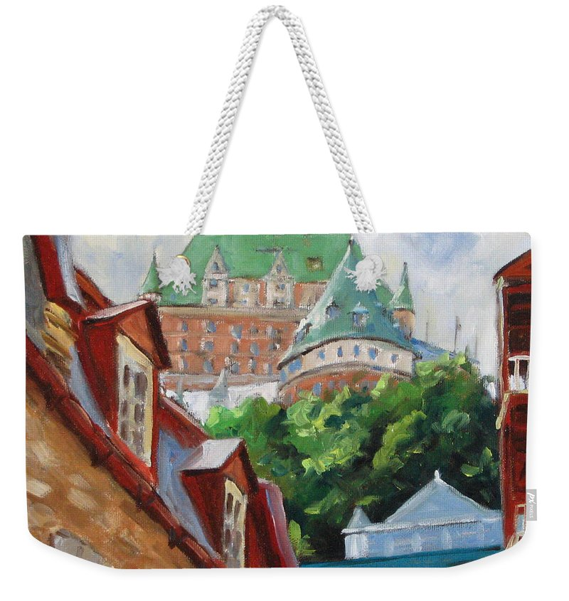 Chateau Frontenac Weekender Tote Bag featuring the painting Chateau Frontenac by Richard T Pranke