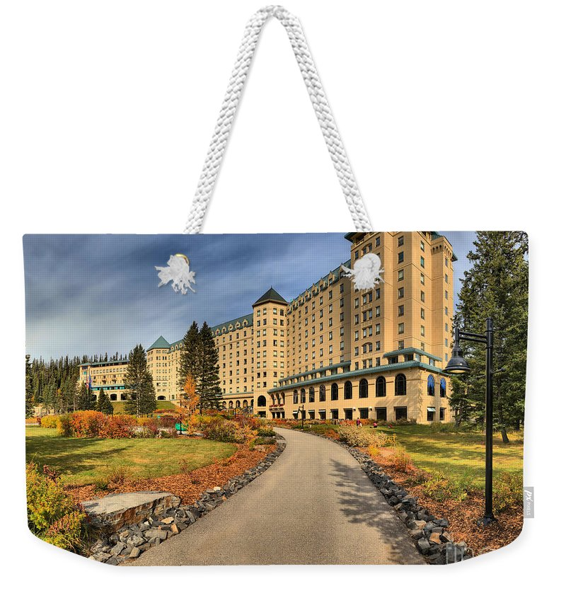 Chateau Lake Louise Weekender Tote Bag featuring the photograph Chateau Lake Louise Alberta Canada by Adam Jewell