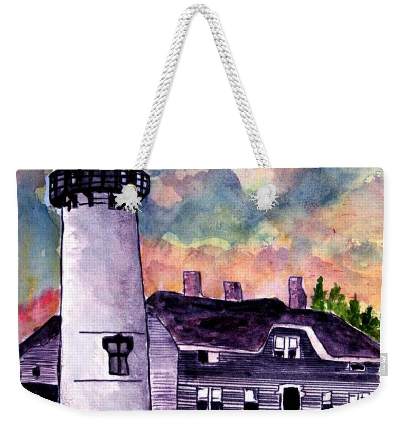 Lighthouse Weekender Tote Bag featuring the painting Chatham Lighthouse Martha's Vineyard Massachuestts Cape Cod art by Derek Mccrea