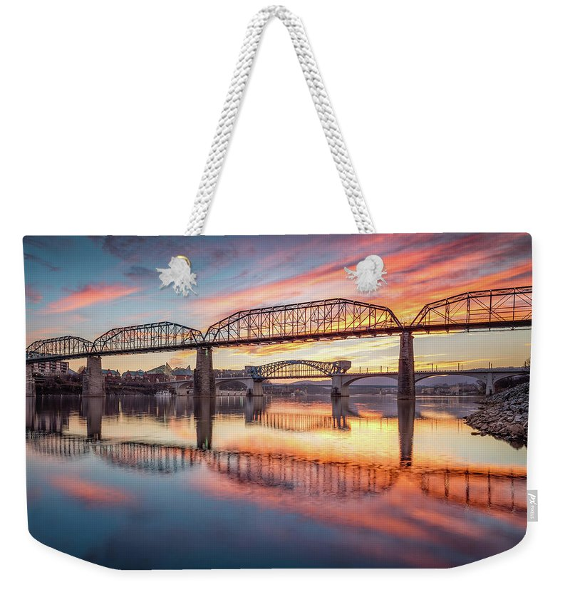 Chattanooga Weekender Tote Bag featuring the photograph Chattanooga Sunset 5 by Steven Llorca