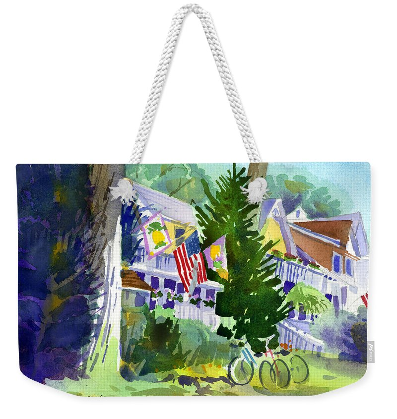 Chautauqua Institution Weekender Tote Bag featuring the painting Chautauqua House by Lee Klingenberg