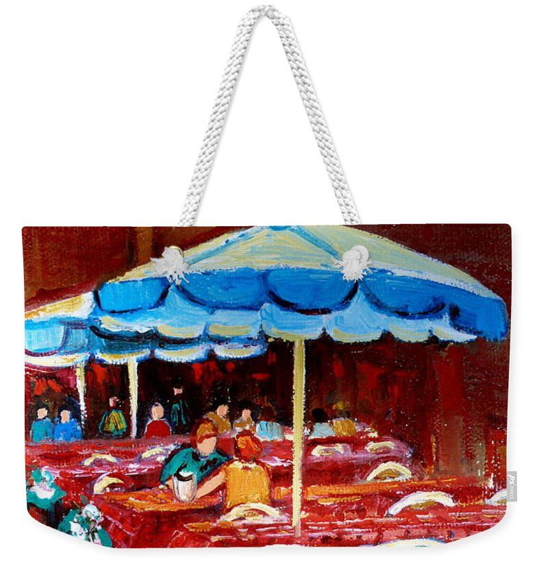 Montreal Weekender Tote Bag featuring the painting Checkered Tablecloths by Carole Spandau