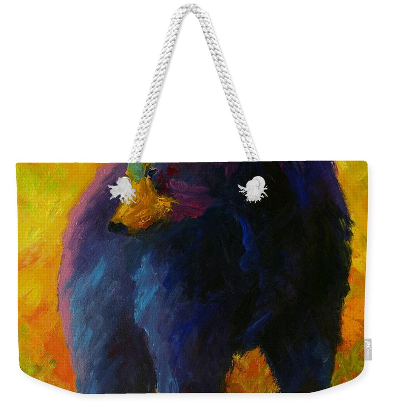 Western Weekender Tote Bag featuring the painting Checking The Smorg - Black Bear by Marion Rose
