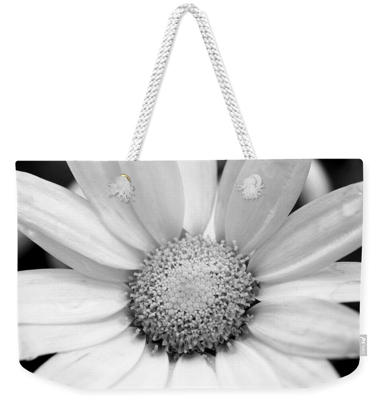 Flower Weekender Tote Bag featuring the photograph Cheery Daisy - Black And White by Angela Rath