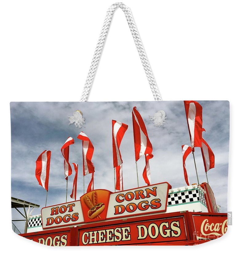 Hot Dogs Weekender Tote Bag featuring the photograph Cheese Dogs Galore by The Art of Alice Terrill