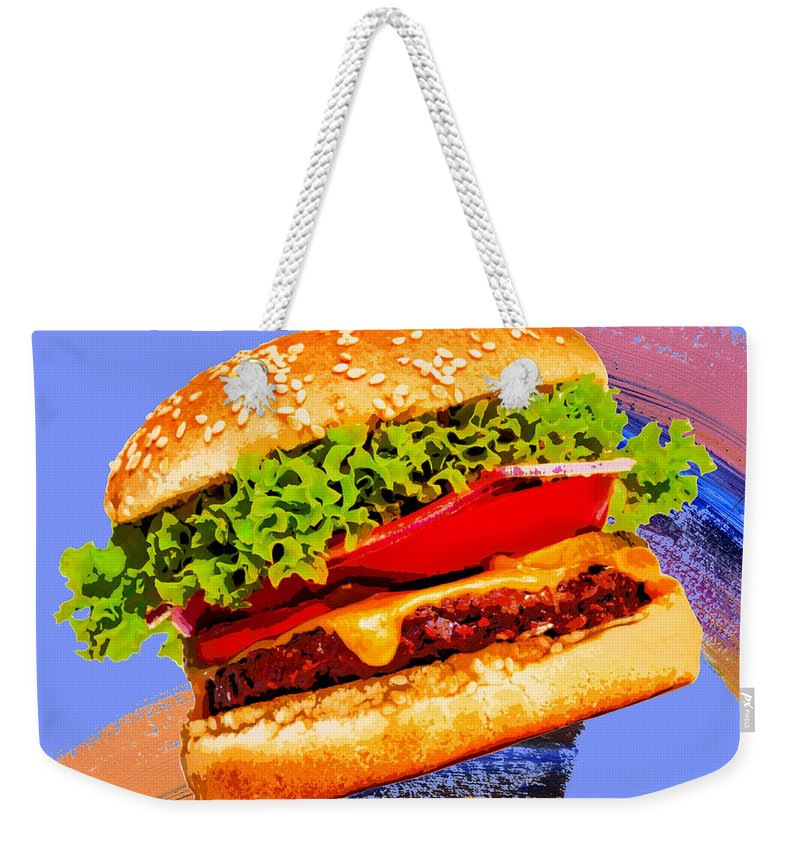 Pop Art Weekender Tote Bag featuring the painting Cheeseburger by Dominic Piperata