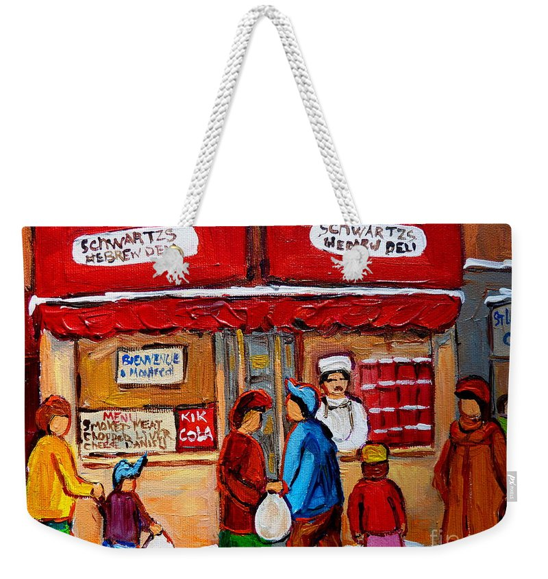 Schwartzs Hebrew Deli Weekender Tote Bag featuring the painting Chef In The Window by Carole Spandau