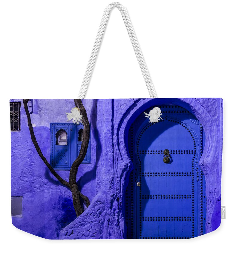 Chefchaouen Weekender Tote Bag featuring the photograph Chefchaouen Hotel Door by Lindley Johnson