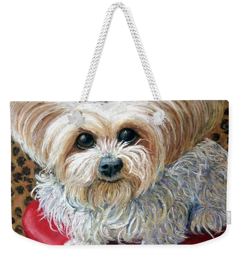 Dog Weekender Tote Bag featuring the painting My Friend by Minaz Jantz