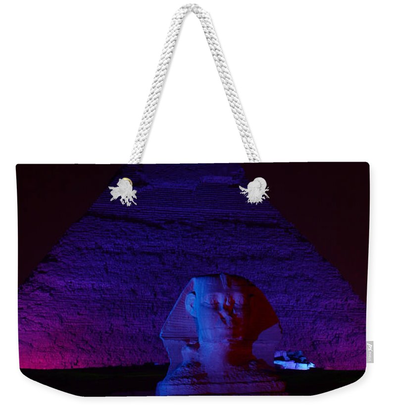 Pyramid Weekender Tote Bag featuring the photograph Cheops In Blue by Donna Corless