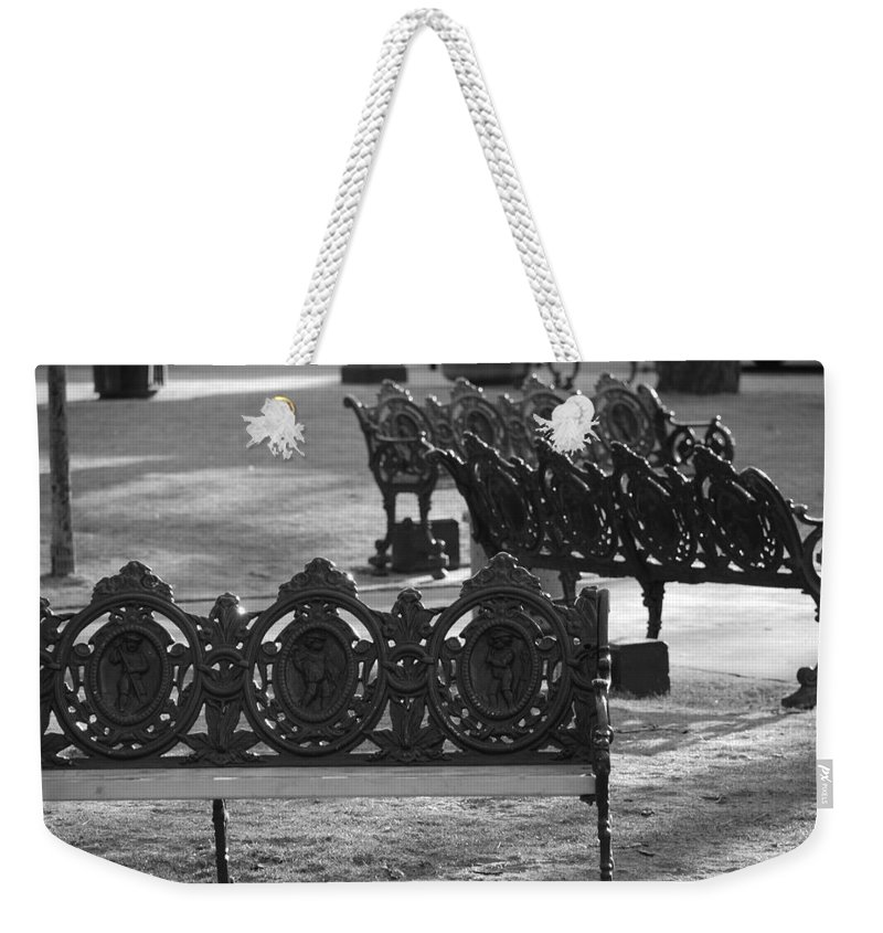 Black And White Weekender Tote Bag featuring the photograph Cherb Benches by Rob Hans
