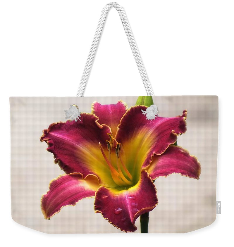 Cherokee Heritage Daylily Weekender Tote Bag featuring the photograph Cherokee Heritage Daylily by MTBobbins Photography