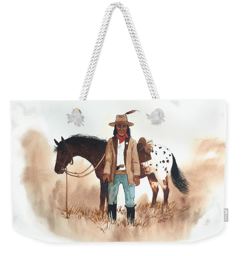 Cherokee Weekender Tote Bag featuring the painting Cherokee Lighthorse by John Guthrie