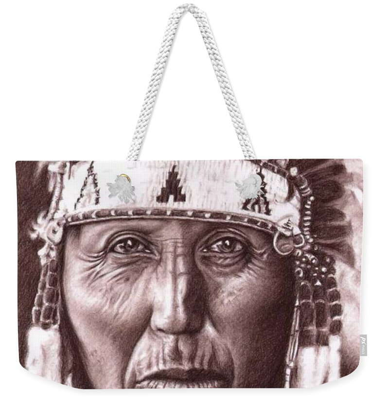 Indian Weekender Tote Bag featuring the drawing Cherokee by Nicole Zeug