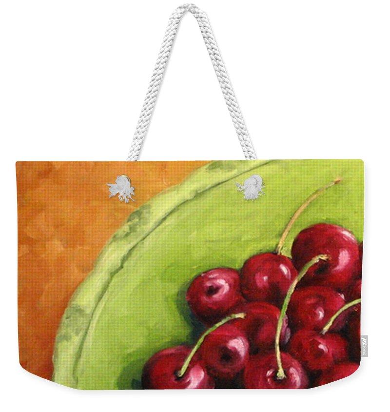 Art Weekender Tote Bag featuring the painting Cherries Green Plate by Richard T Pranke