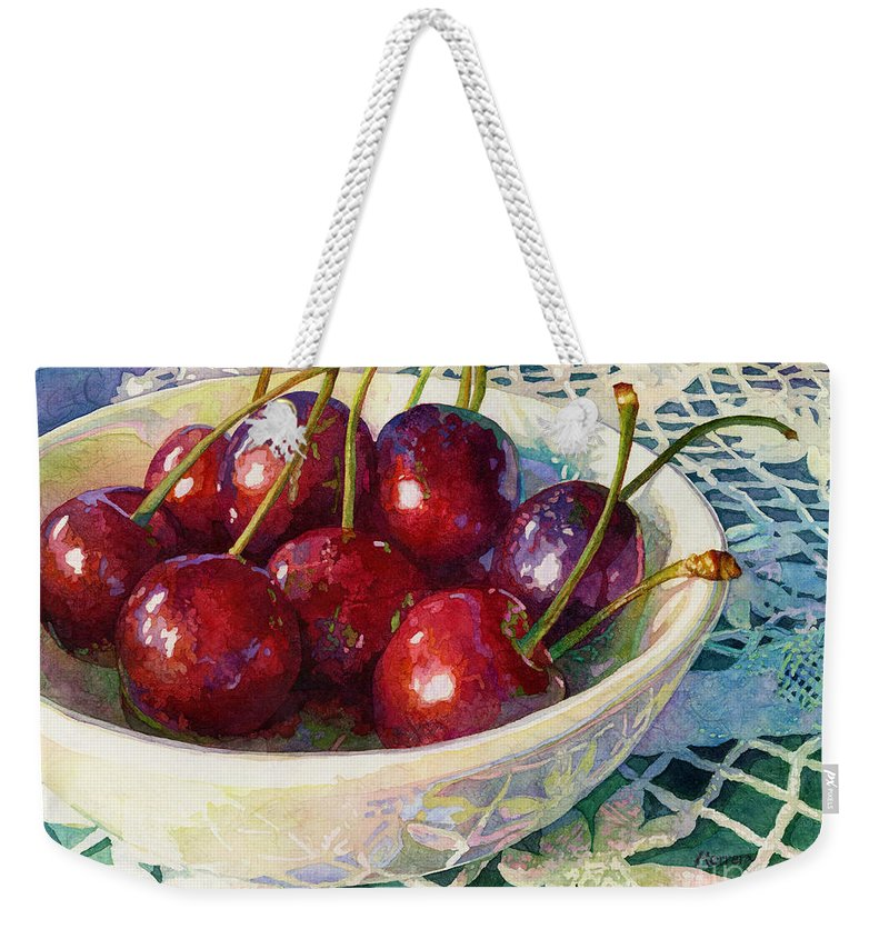 Cherry Weekender Tote Bag featuring the painting Cherries Jubilee by Hailey E Herrera