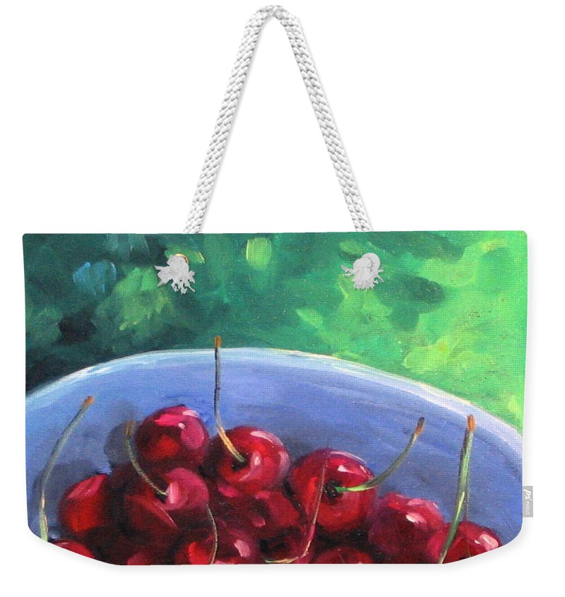 Art Weekender Tote Bag featuring the painting Cherries On A Blue Plate by Richard T Pranke