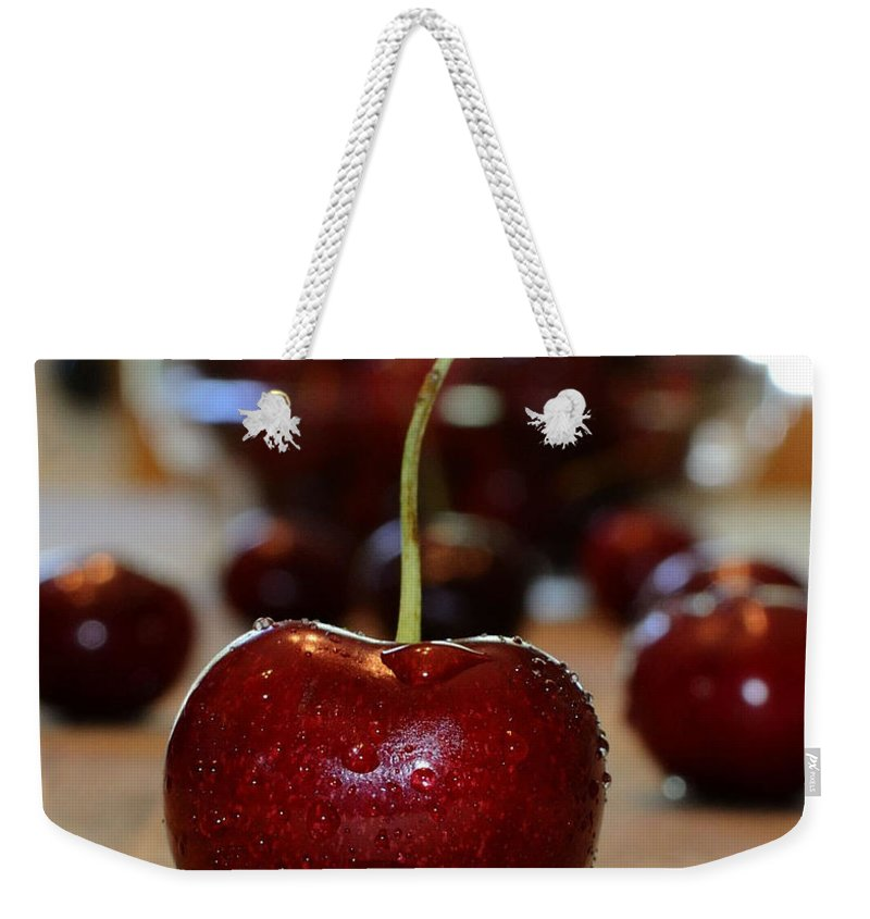Fruit Weekender Tote Bag featuring the photograph Cherry 2 by Pam Romjue