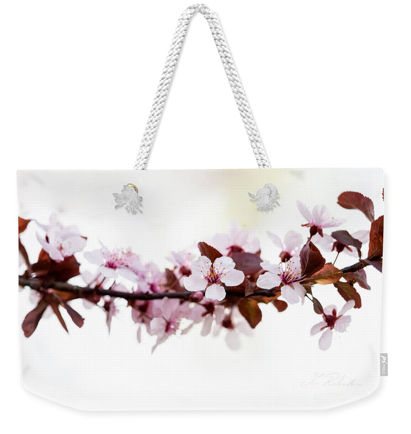 Cherry Blossom Weekender Tote Bag featuring the photograph Cherry Blossom Branch by Iris Richardson
