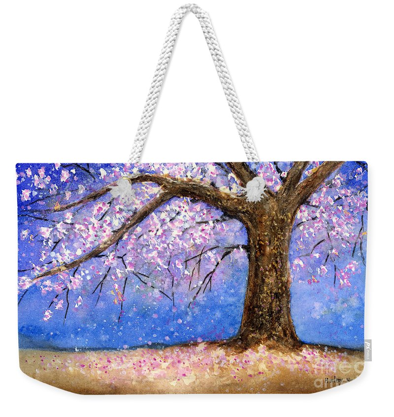 Cherry Blossom Weekender Tote Bag featuring the painting Cherry Blossom by Hailey E Herrera