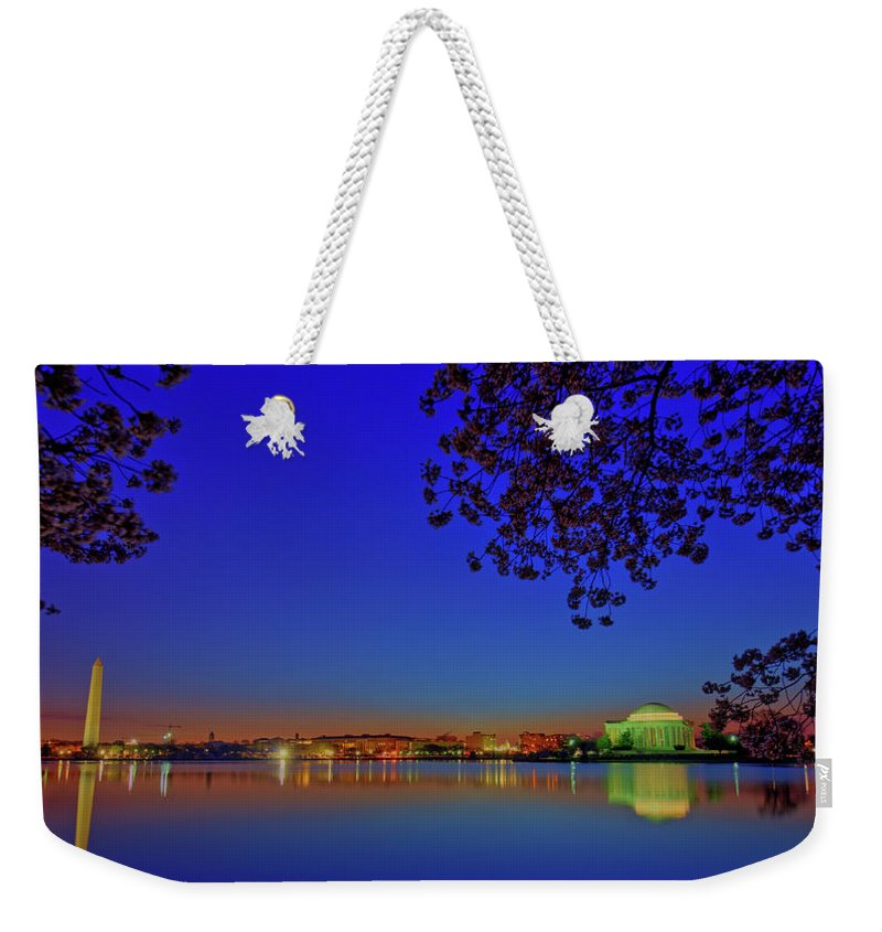 Washington Dc Weekender Tote Bag featuring the photograph Cherry Blossoms Sunrise by Craig Fildes