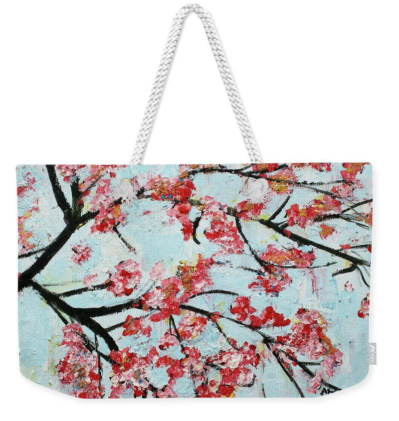 Floral Painting Weekender Tote Bag featuring the painting Cherry Blossoms V 201631 by Alyse Radenovic
