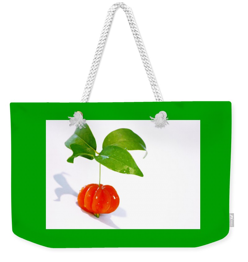 Food Weekender Tote Bag featuring the photograph Cherry by Holly Kempe