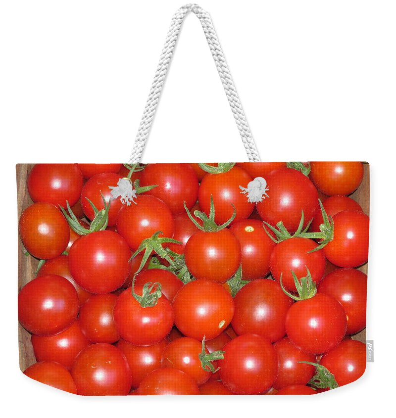 Vegetable Weekender Tote Bag featuring the photograph Cherry Tomato Harvest by M E Cieplinski