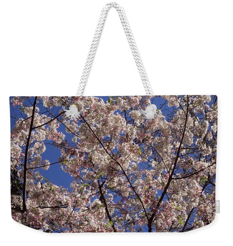 Cherry Tree Weekender Tote Bag featuring the photograph Cherry Tree In Bloom by Laura Martin