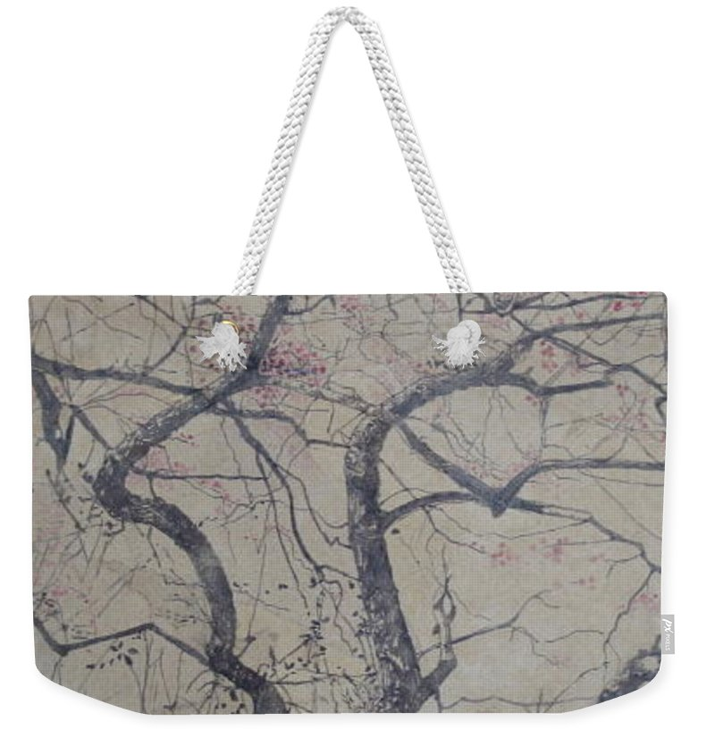 Crab Apple Weekender Tote Bag featuring the painting Prairie Fire by Leah Tomaino